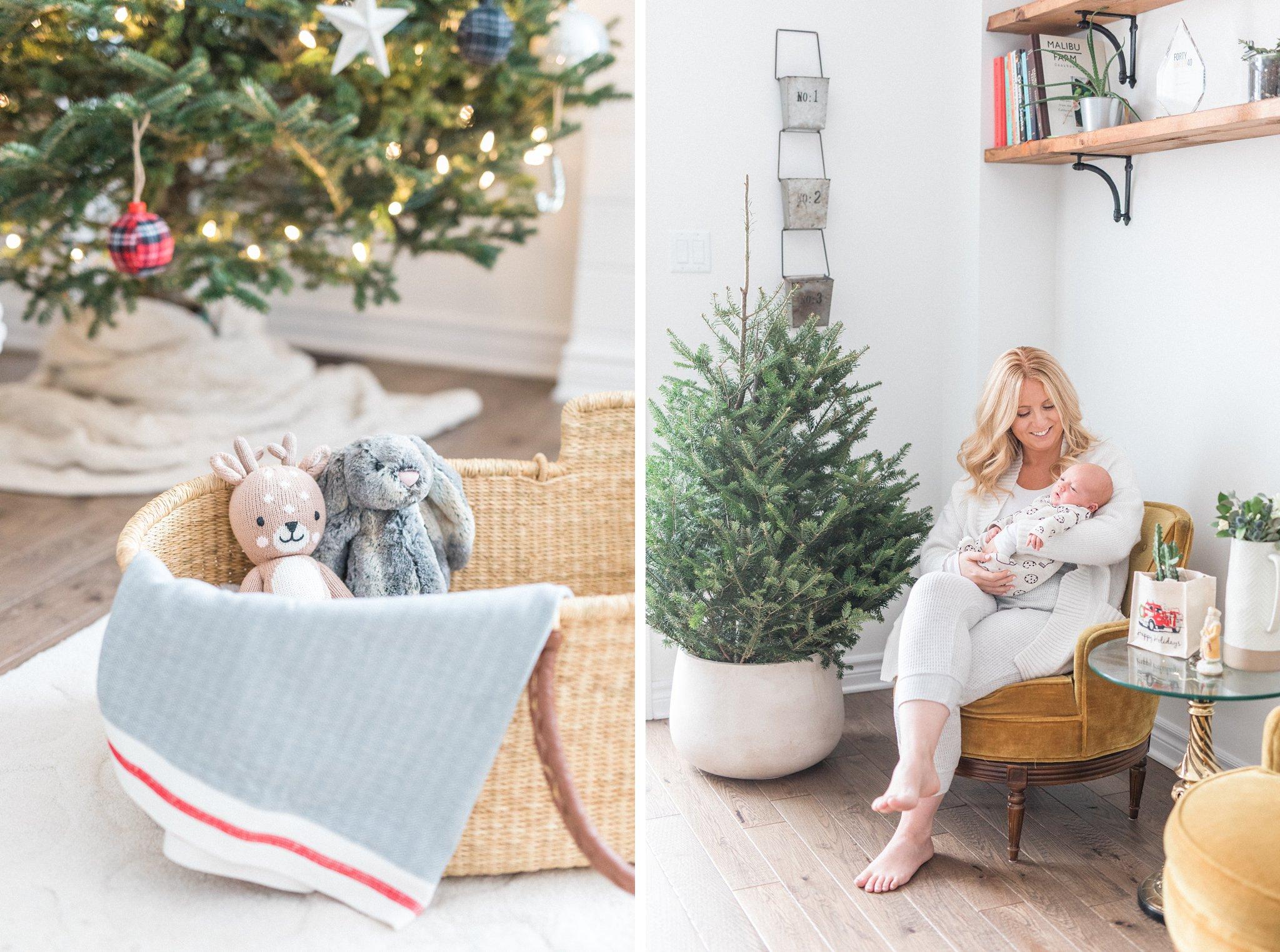 Moses basket, Festive Newborn Lifestyle Photos During the Christmas Holidays