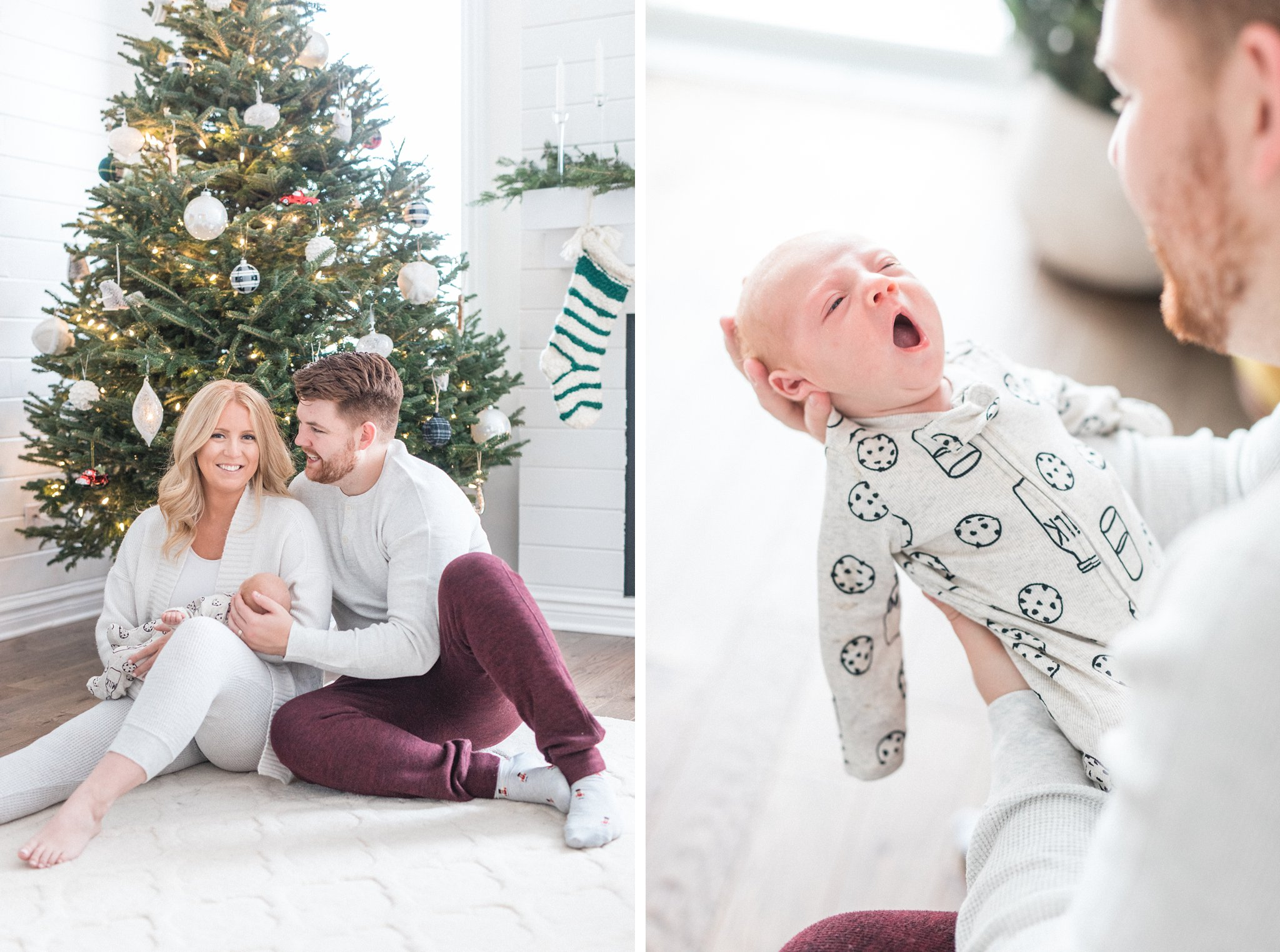 Christmas tree photo by the fireplace, Festive Newborn Lifestyle Photos During the Christmas Holidays