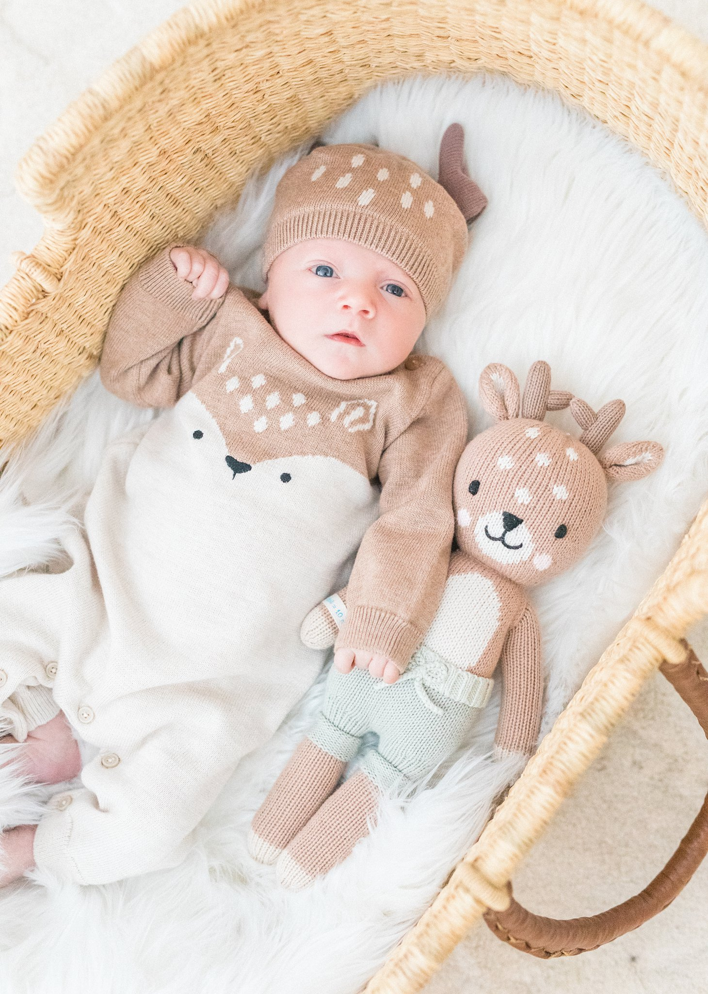 Cuddle and kind doll, deer outfit, Festive Newborn Lifestyle Photos During the Christmas Holidays