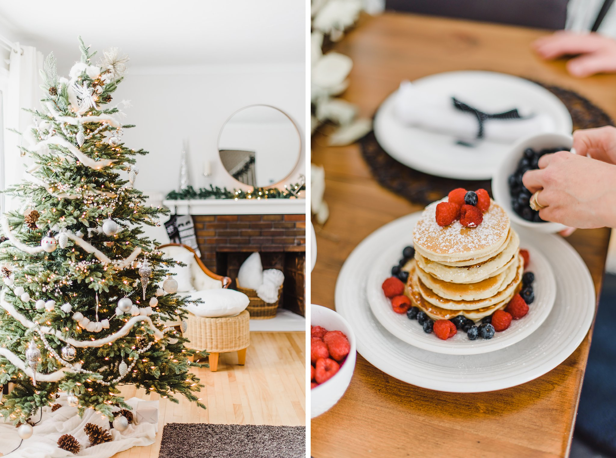 Pancake tower with raspberries and blueberries, Lifestyle Maternity Photos in Ottawa on 'Pancake Sunday'