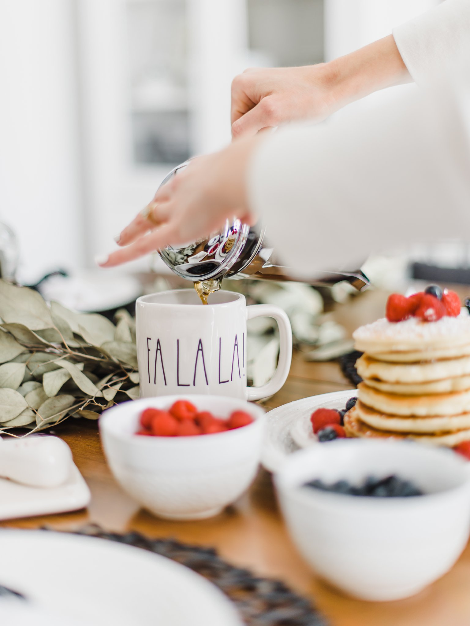 Fa la la mug, homesense, Lifestyle Maternity Photos in Ottawa on 'Pancake Sunday'