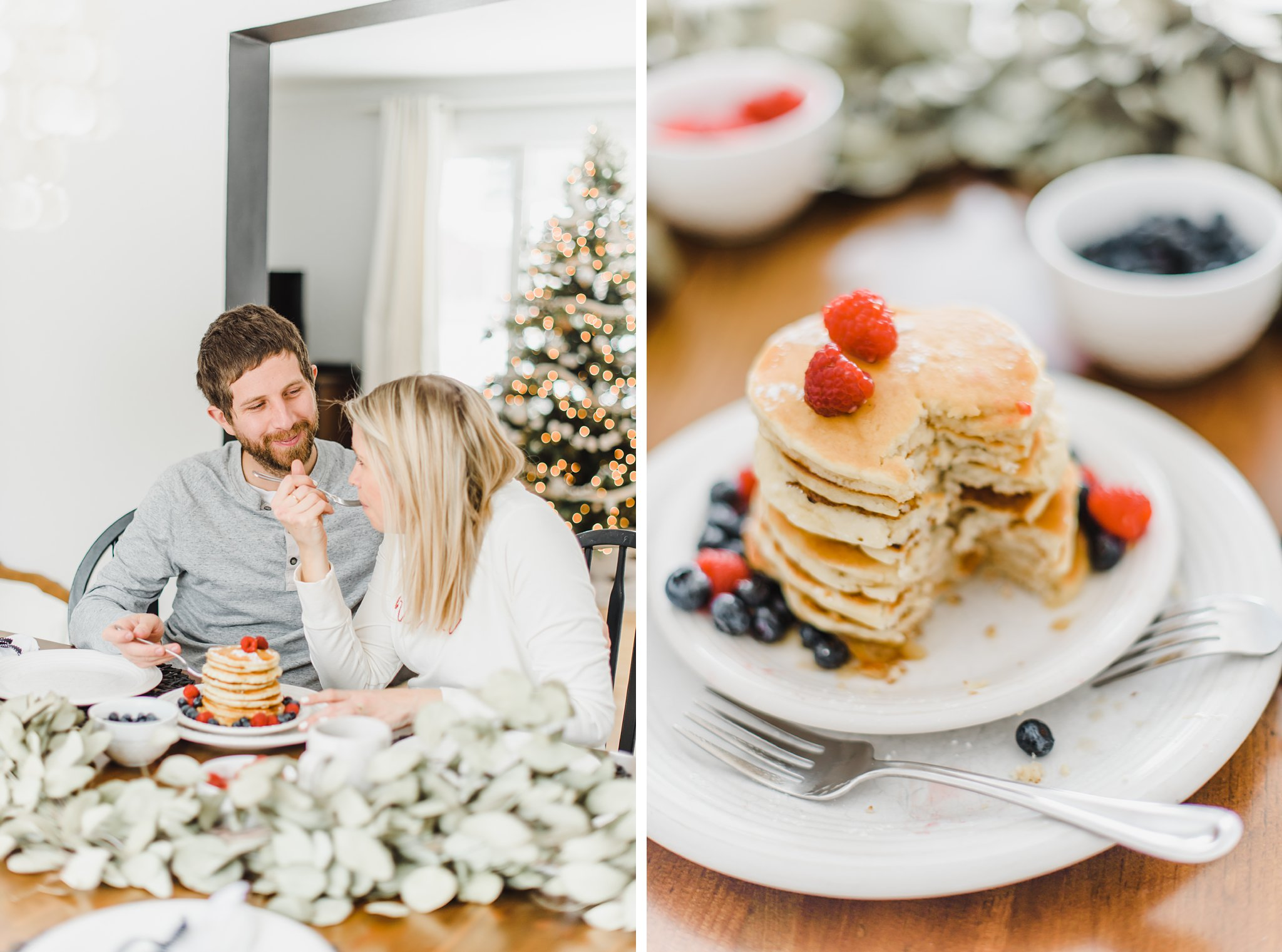 Pancake tower with a bit taken out, Lifestyle Maternity Photos in Ottawa on 'Pancake Sunday'