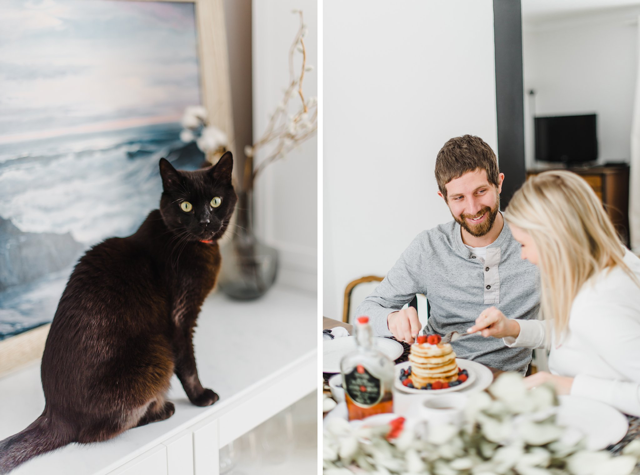 Black cat Lifestyle Maternity Photos in Ottawa on 'Pancake Sunday'
