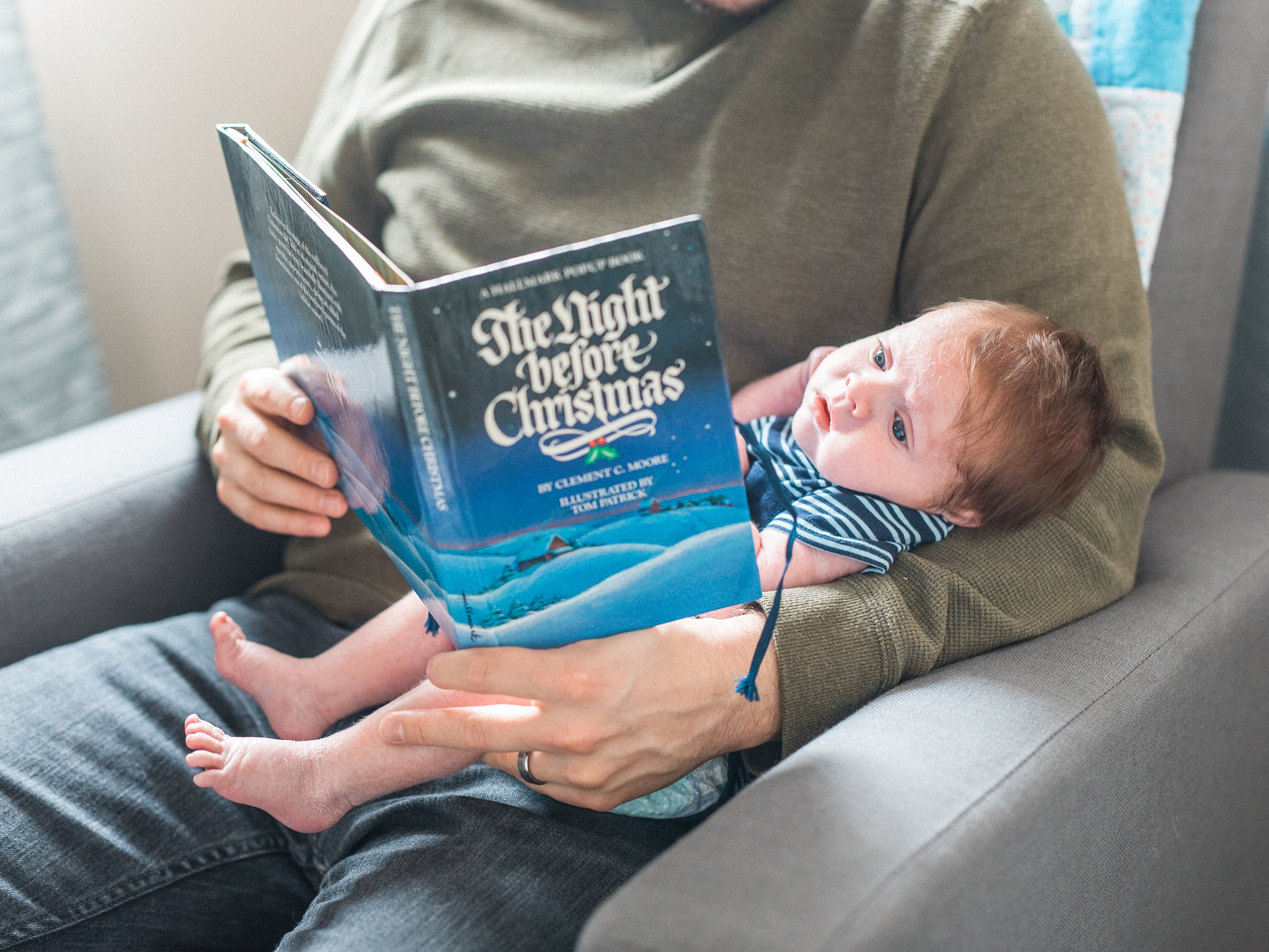 The night before Christmas, children's book, Lifestyle Newborn Session, Baby's First Christmas