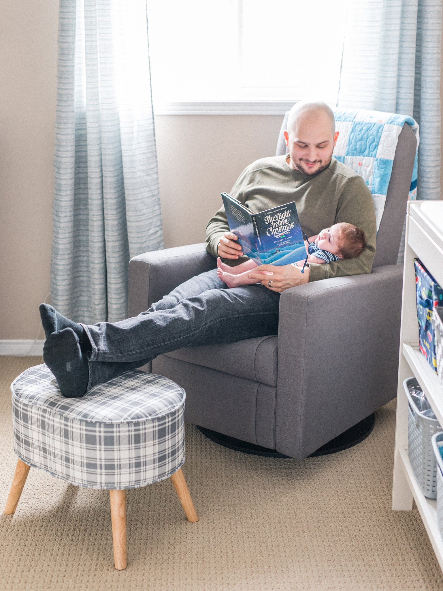 Father reads a night before Christmas, nursery glider, Lifestyle Newborn Session, Baby's First Christmas