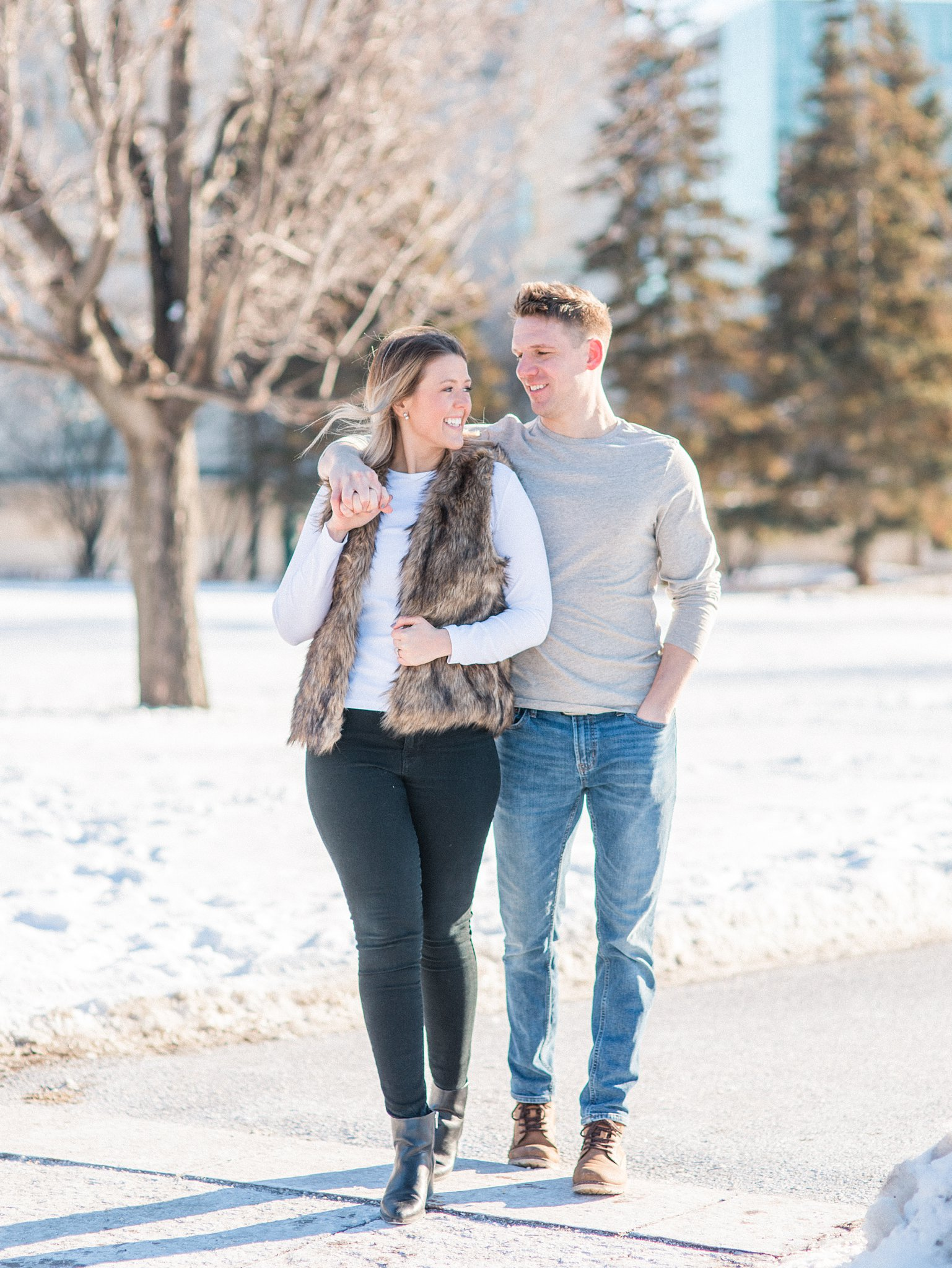 Faux fur vest, Downtown Ottawa Winter Engagement Photos at the Chateau Laurier