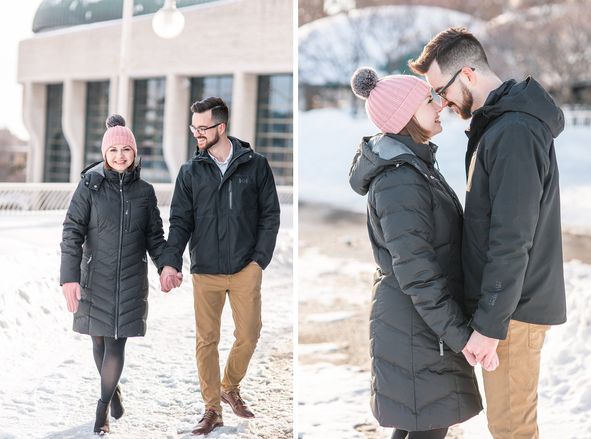 Winter Engagement Photos at the Museum of History