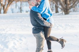 Snowy winter engagement photos at the Ottawa Arboretum