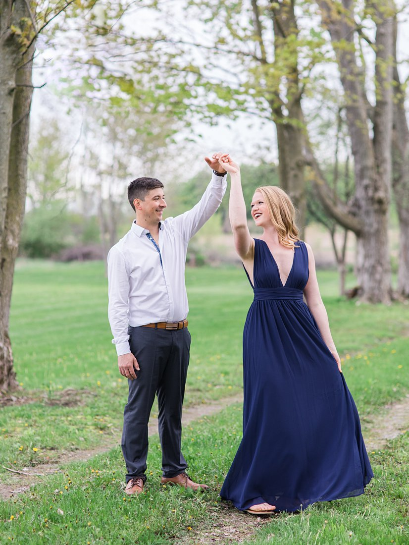 Dancing in the laneway Farmhouse Engagement Photos