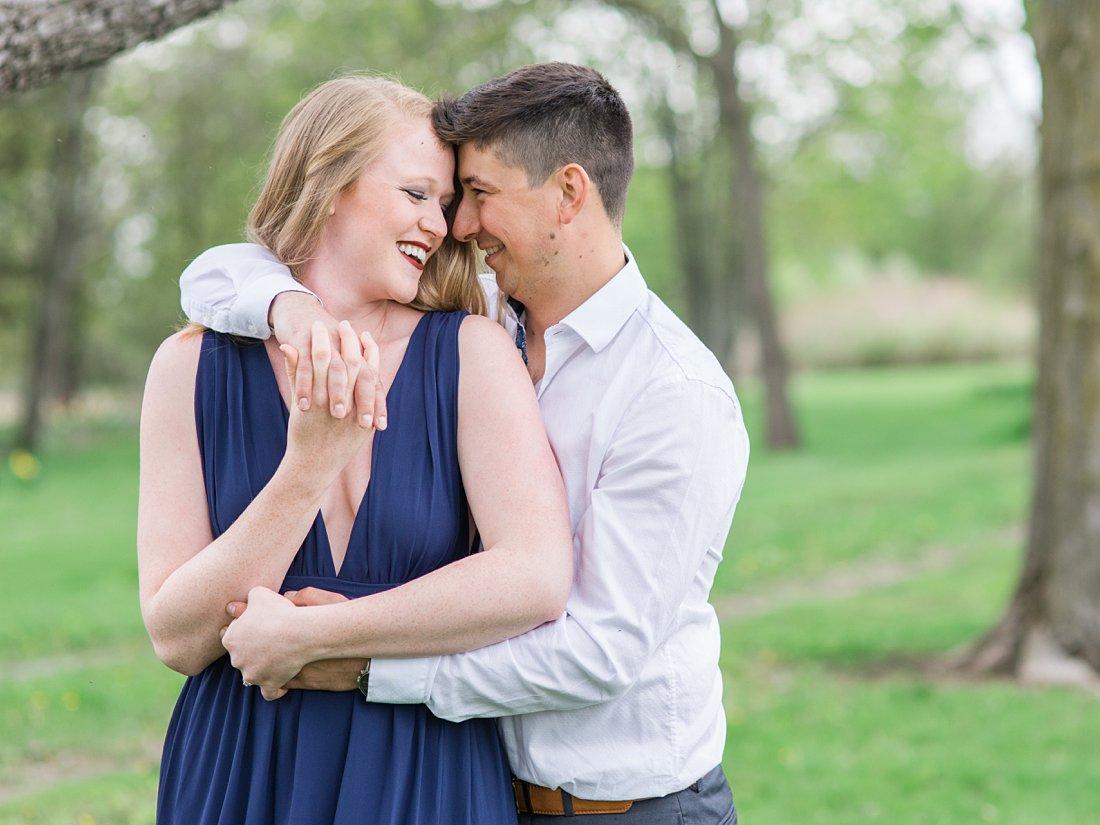V-neck navy blue engagement dress