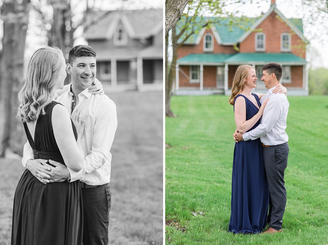 Red brick house Farmhouse Engagement Photos