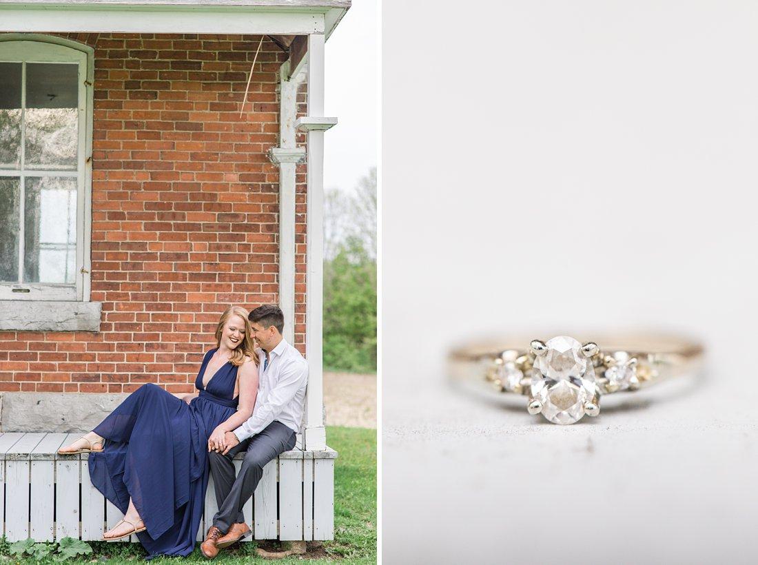 Diamond engagement ring Farmhouse Engagement Photos