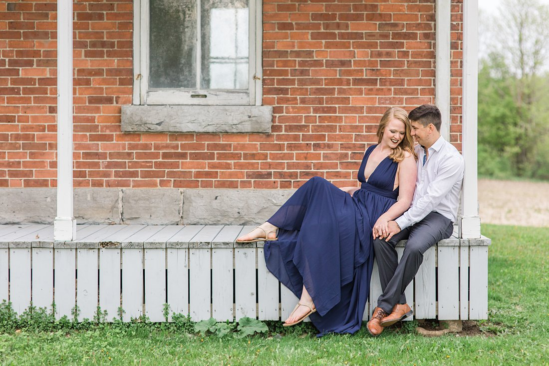 Covered front porch Farmhouse Engagement Photos