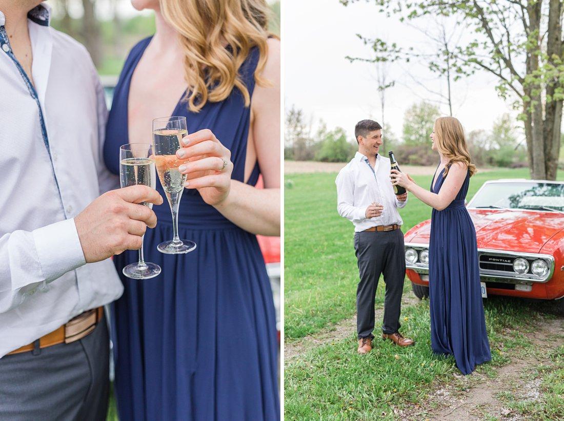 Champagne engagement session Farmhouse Engagement Photos