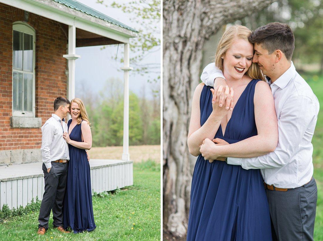 Long navy dress Farmhouse Engagement Photos