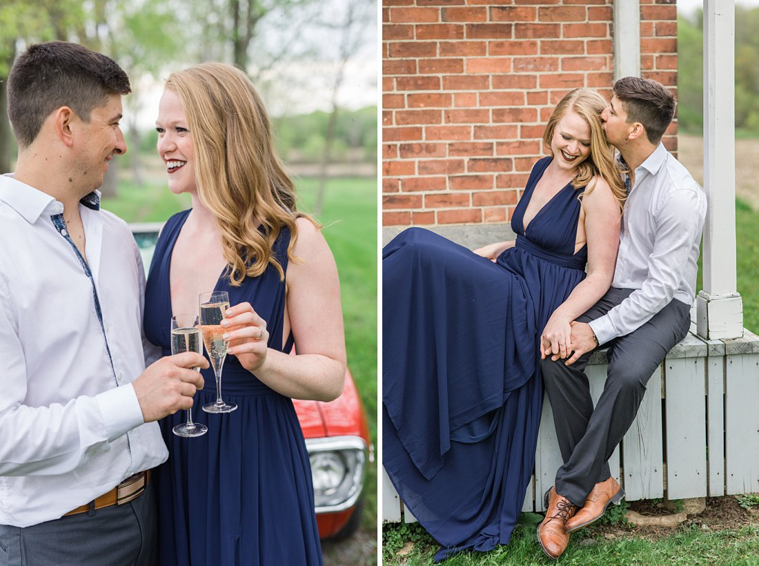 Cheers with champagne Farmhouse Engagement Photos