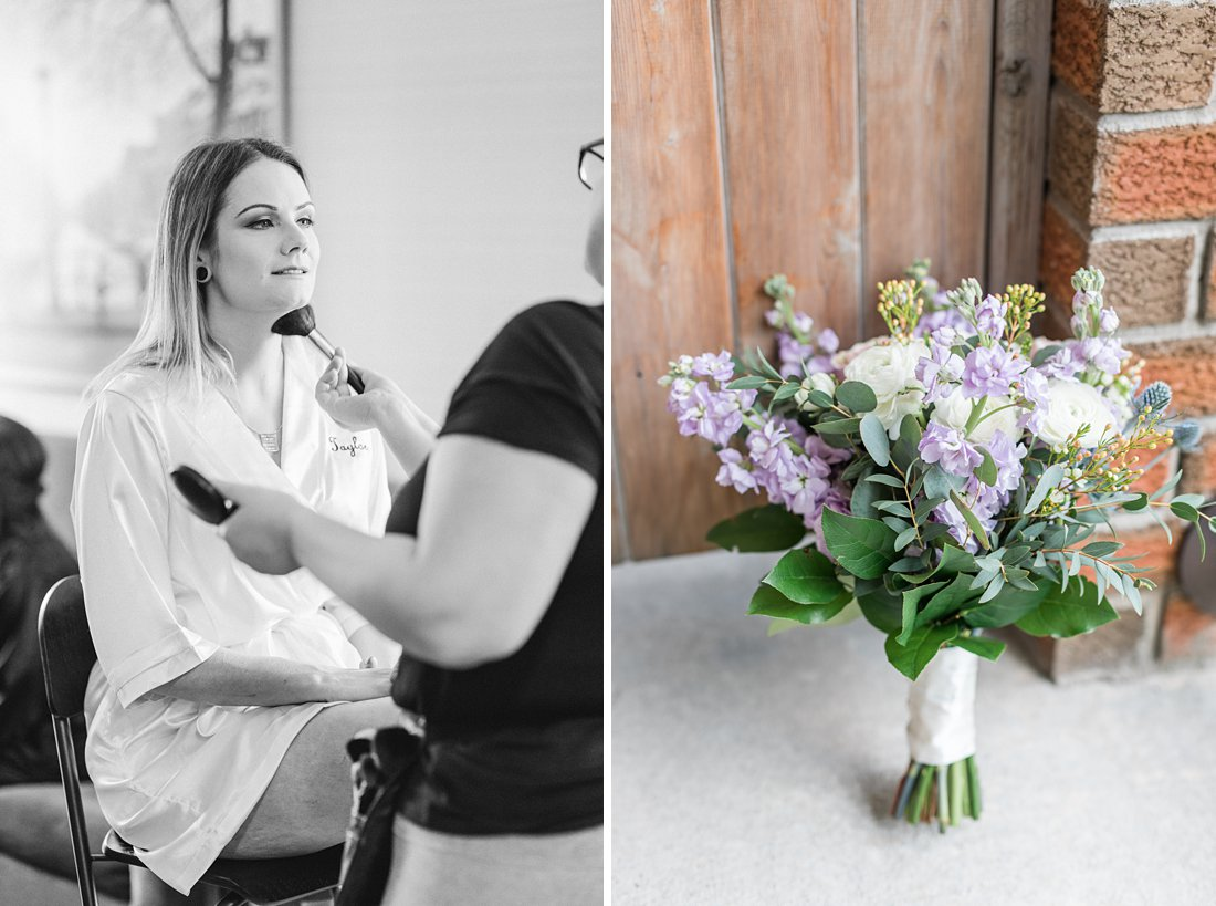 Strathmere Lodge Wedding purple bridal bouquet