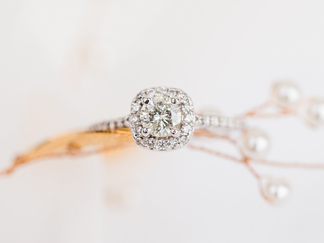 Strathmere Lodge Wedding gold headpiece with engagement ring