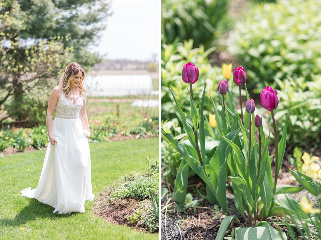 Strathmere Lodge Wedding first look spring tulips