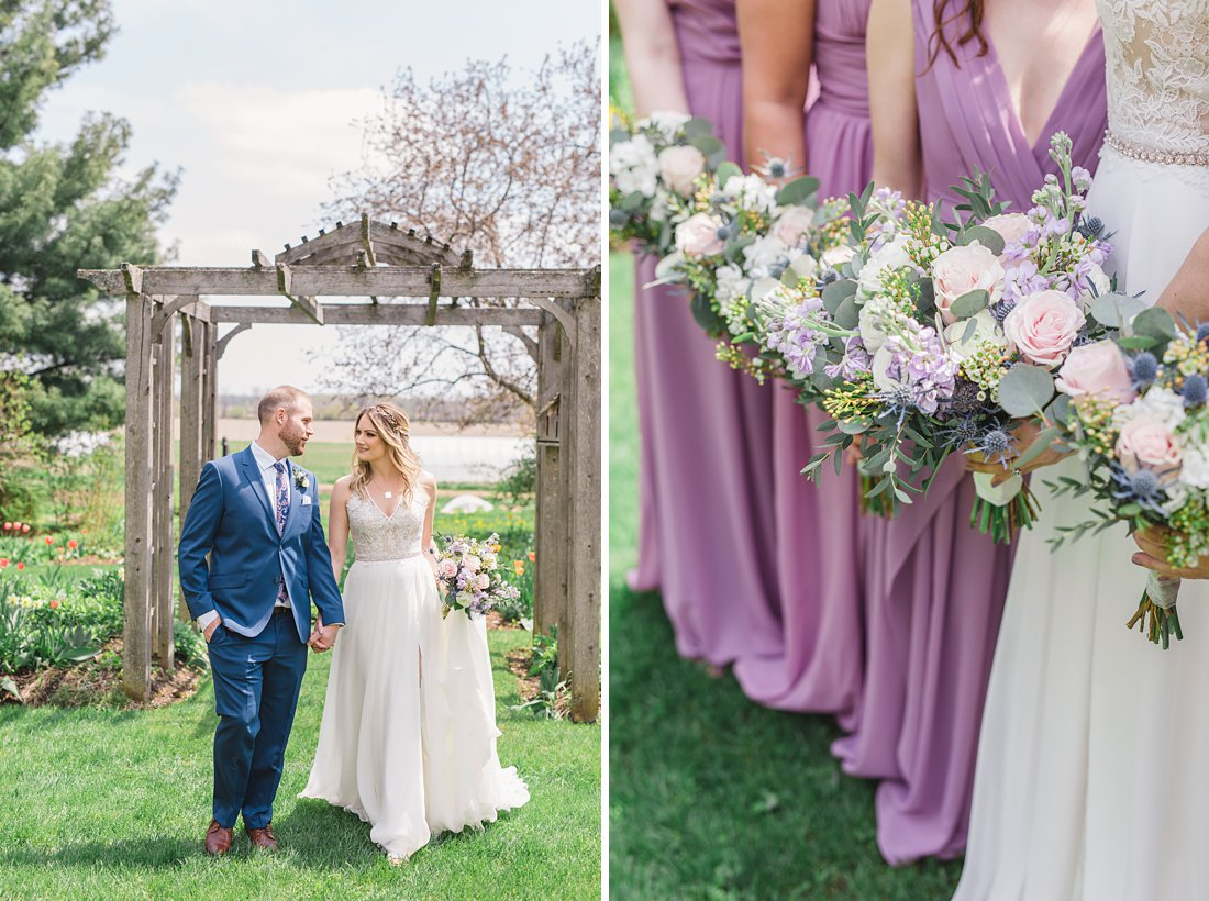 Purple bouquets lavender bridesmaid dresses Strathmere Lodge Wedding