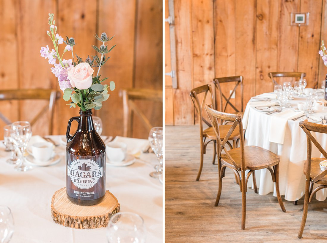 Growler centrepieces with flowers Strathmere Lodge Wedding