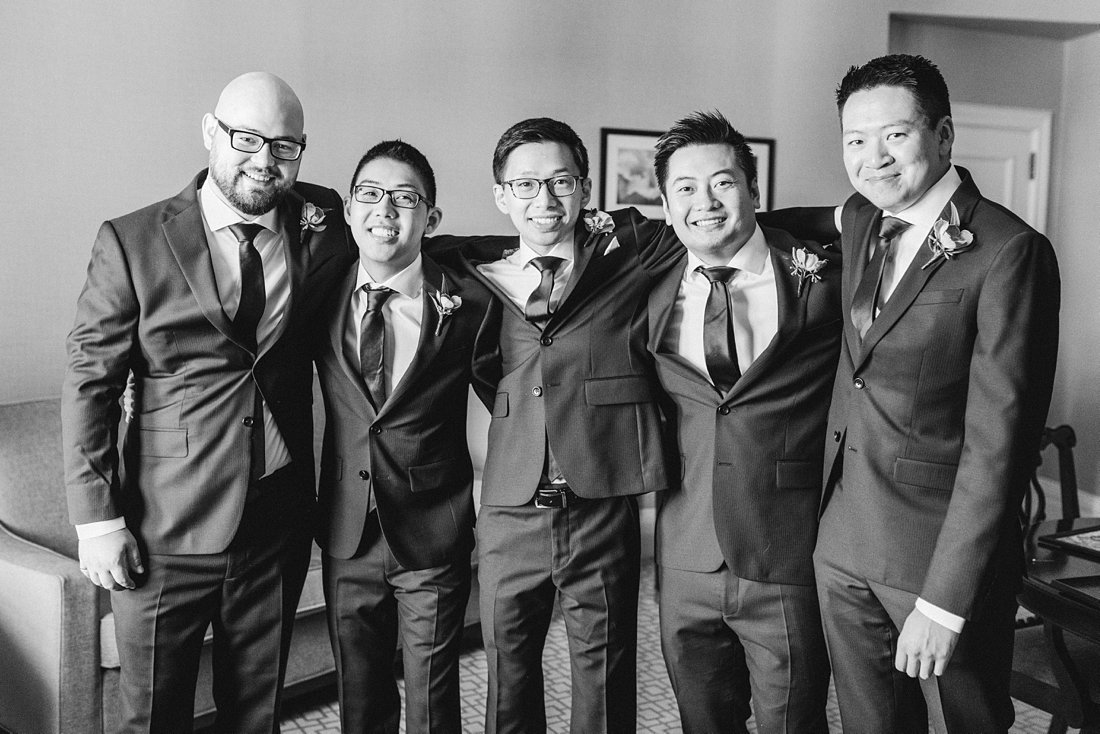 Black and white groom prep photo Chateau Laurier Wedding