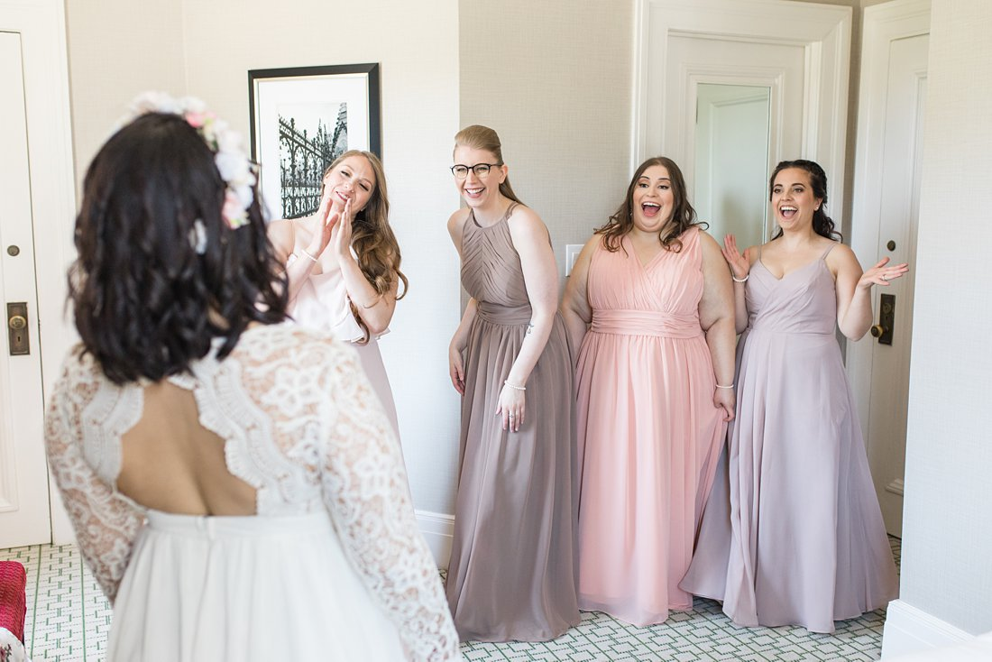Bridesmaids first look Chateau Laurier Wedding,