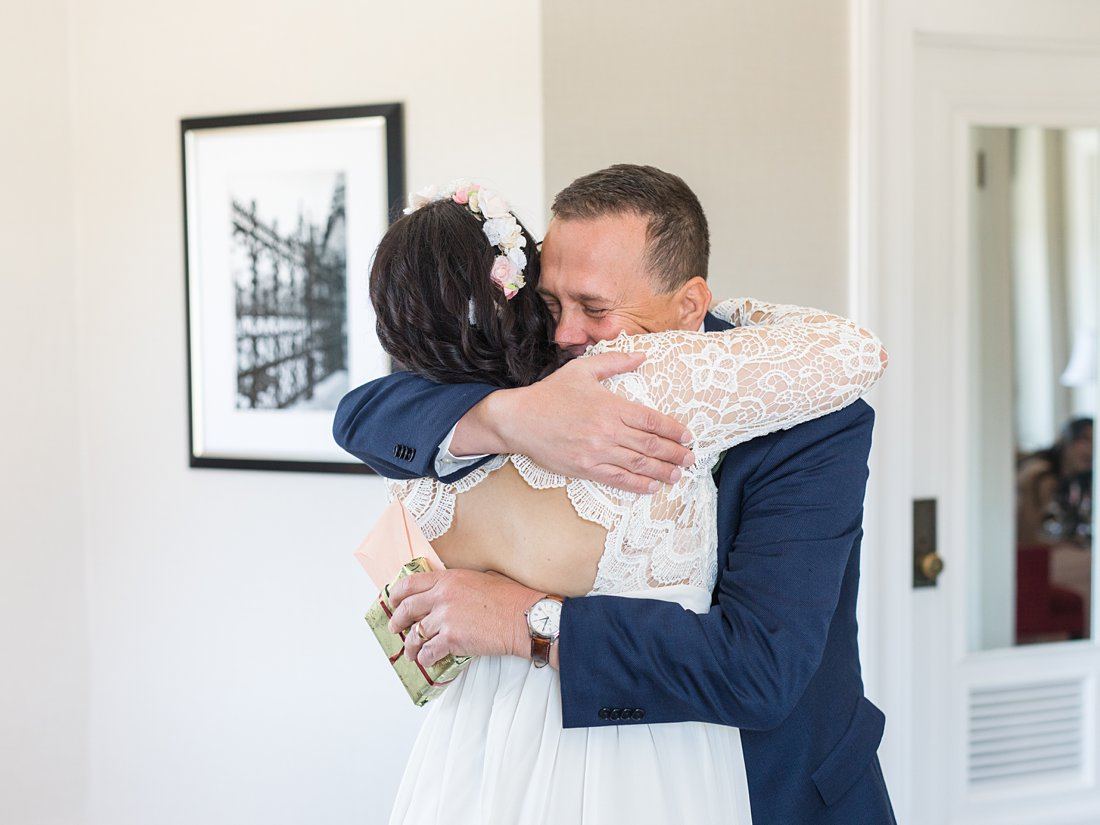 Emotional first look with dad Chateau Laurier Wedding