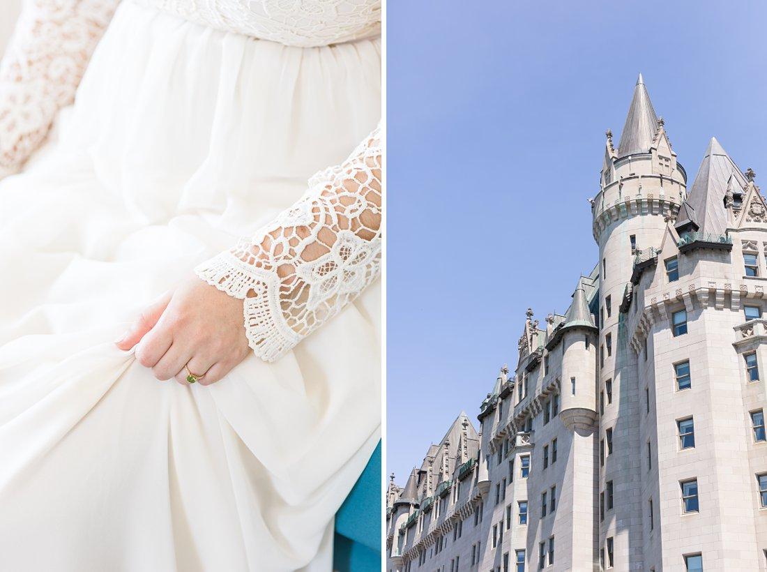Lace boho sleeve dress Chateau Laurier Wedding,
