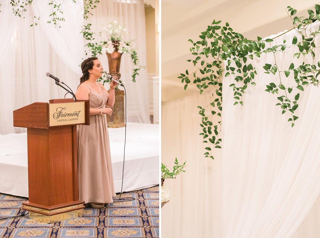 Rebel Petal wedding ceremony altar Chateau Laurier Wedding Ottawa