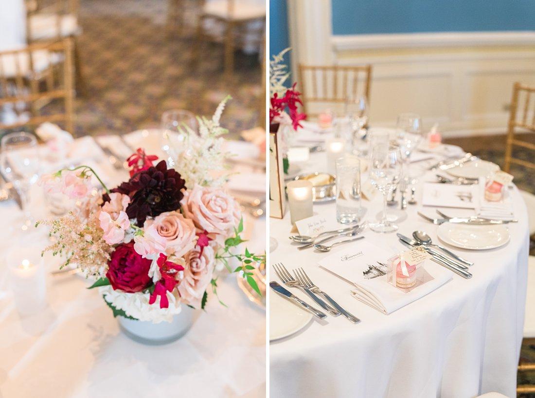 Adam room floral centrepieces Chateau Laurier Wedding