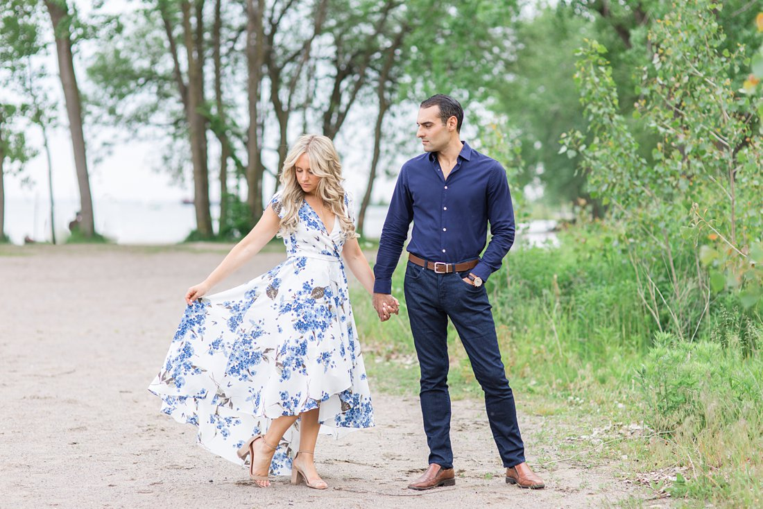Blue white floral dress, Polson Pier Toronto Engagement Photos, Amy Pinder Photography