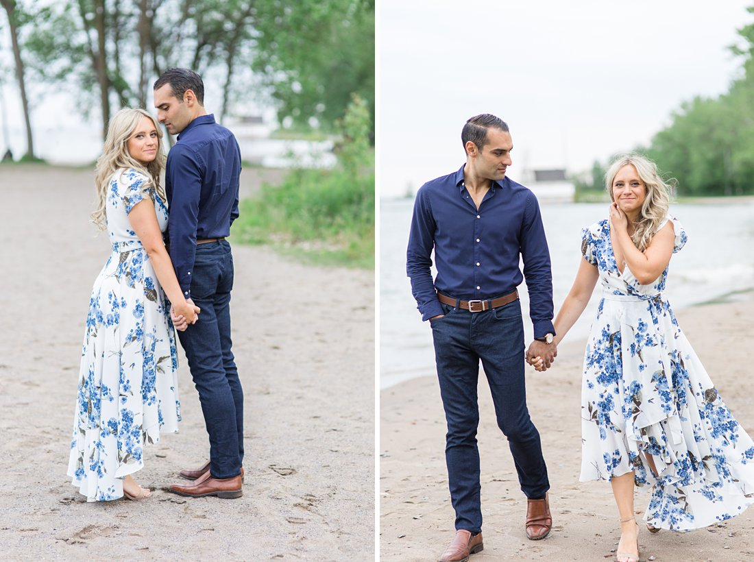 White and blue floral dress, Polson Pier Toronto Engagement Photos, Amy Pinder Photography