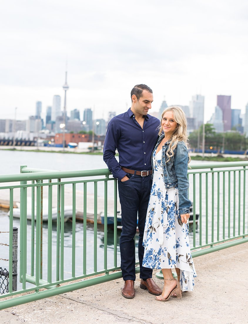 Skyline view, Polson Pier Toronto Engagement Photos, Amy Pinder Photography