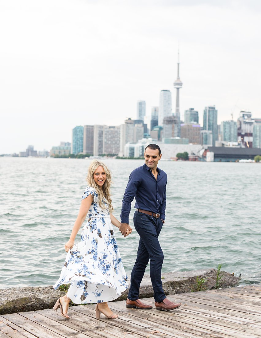 Toronto skyline, Polson Pier Toronto Engagement Photos, Amy Pinder Photography