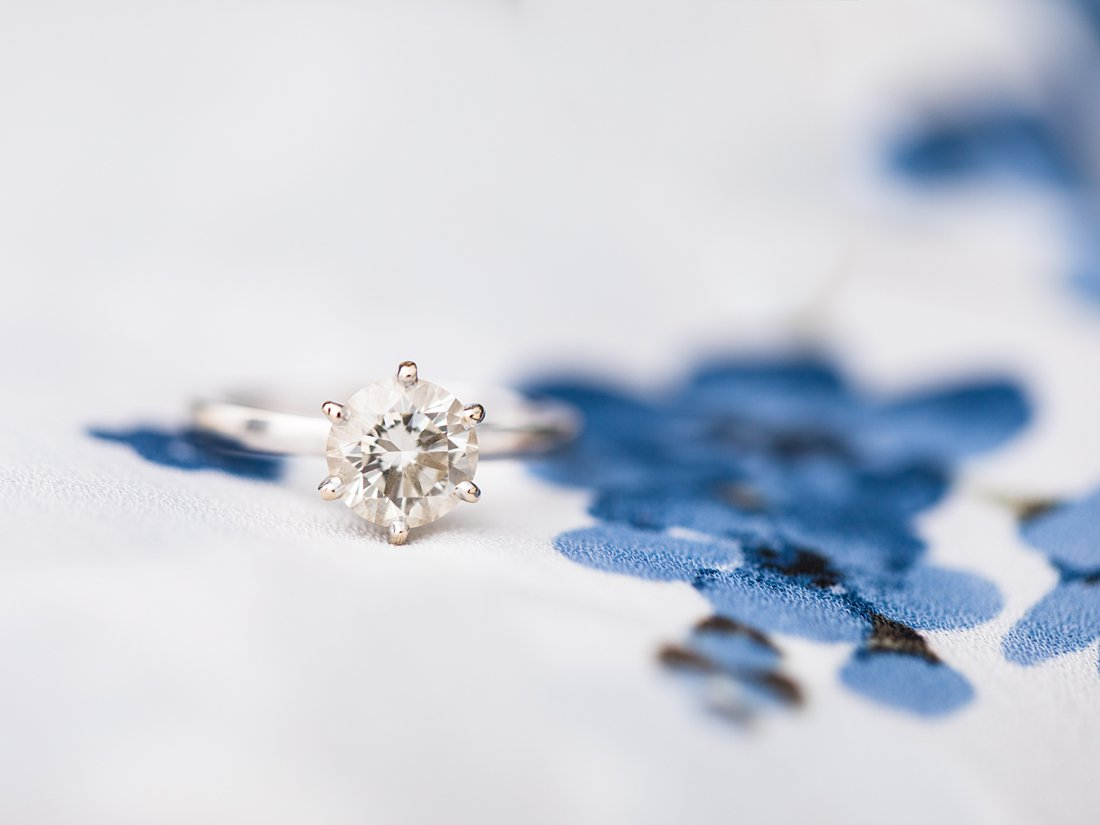 Solitaire diamond ring with 6 prongs, Polson Pier Toronto Engagement Photos, Amy Pinder Photography