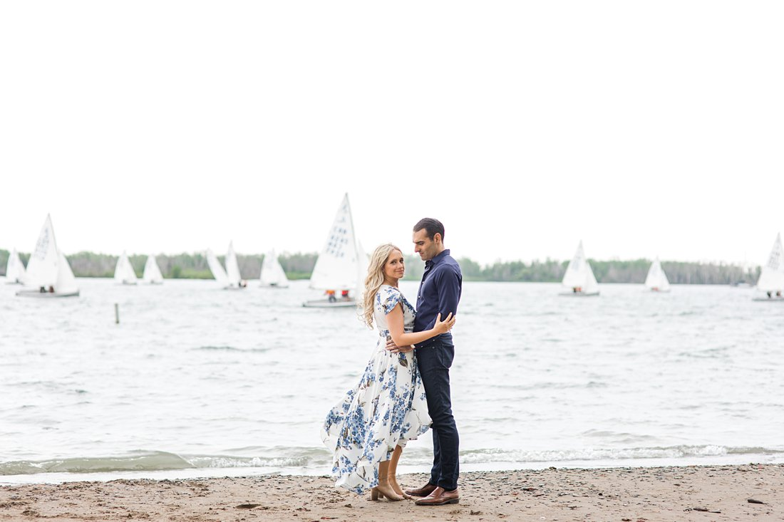 Sailboat engagement photo, Polson Pier Toronto Engagement Photos, Amy Pinder Photography