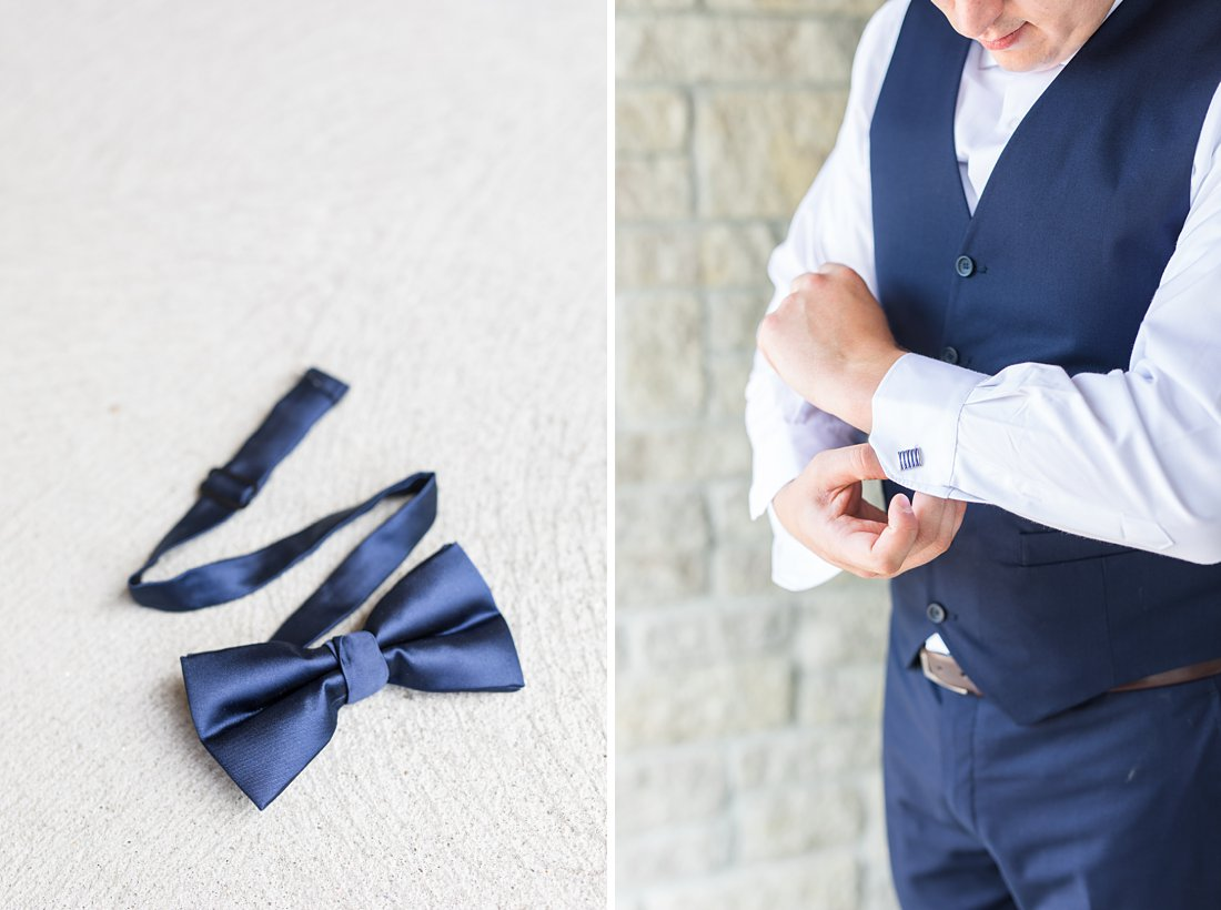 Navy blue bowtie Venue Twenty Two Wedding at the Westin Ottawa
