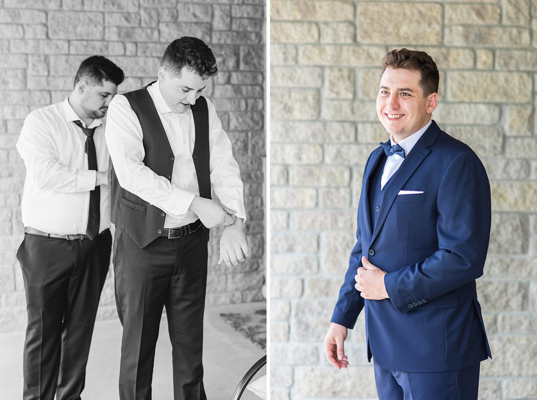 Groomsmen in navy blue white undershirt Restaurant Twenty Two Wedding at the Westin Ottawa