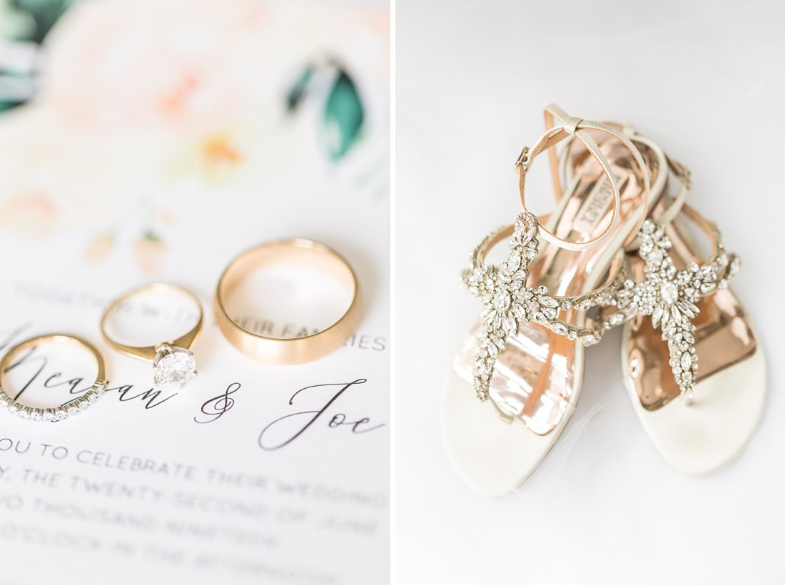 Brushed gold wedding band, bridal shoes, Restaurant Twenty Two Wedding at the Westin Ottawa