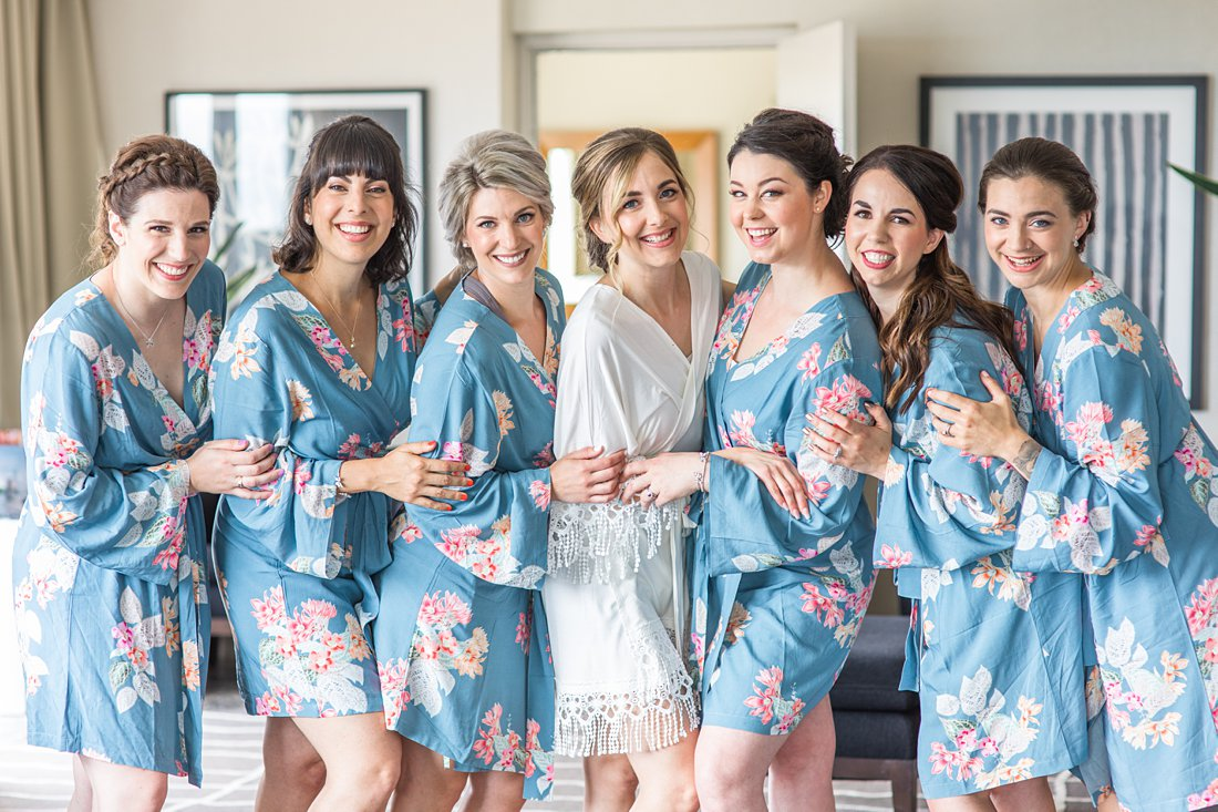 Blue floral bridesmaid robe Restaurant Twenty Two Wedding at the Westin Ottawa