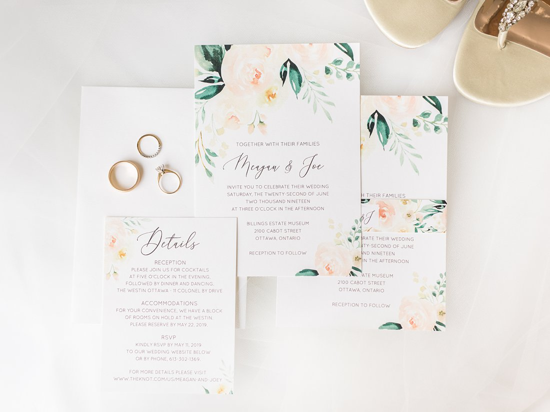 Floral greenery invitation suite Restaurant Twenty Two Wedding at the Westin Ottawa