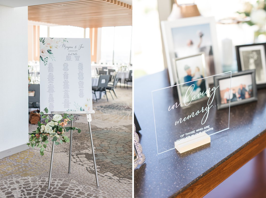 Seating chart, in loving memory table and sign, Restaurant Twenty Two Wedding at the Westin Ottawa