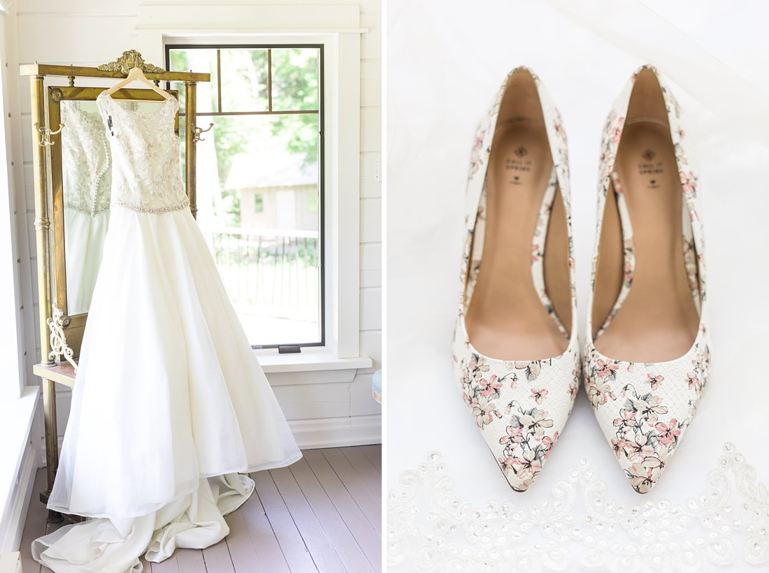 wedding dress hanging on vintage mirror, white bridal shoes, A Sage Green Summer Wedding at Le Belvedere