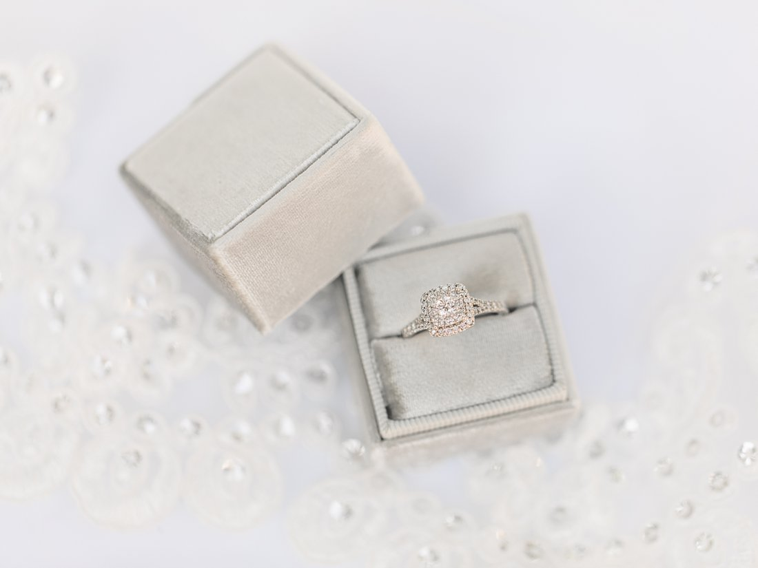 velvet ring box, engagement ring, A Sage Green Summer Wedding at Le Belvedere