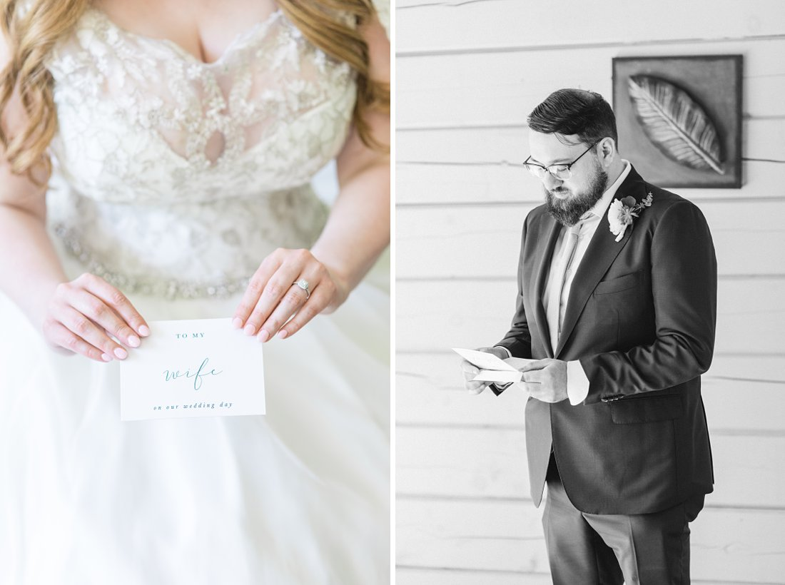 reading letter from bride, wedding day, A Sage Green Summer Wedding at Le Belvedere