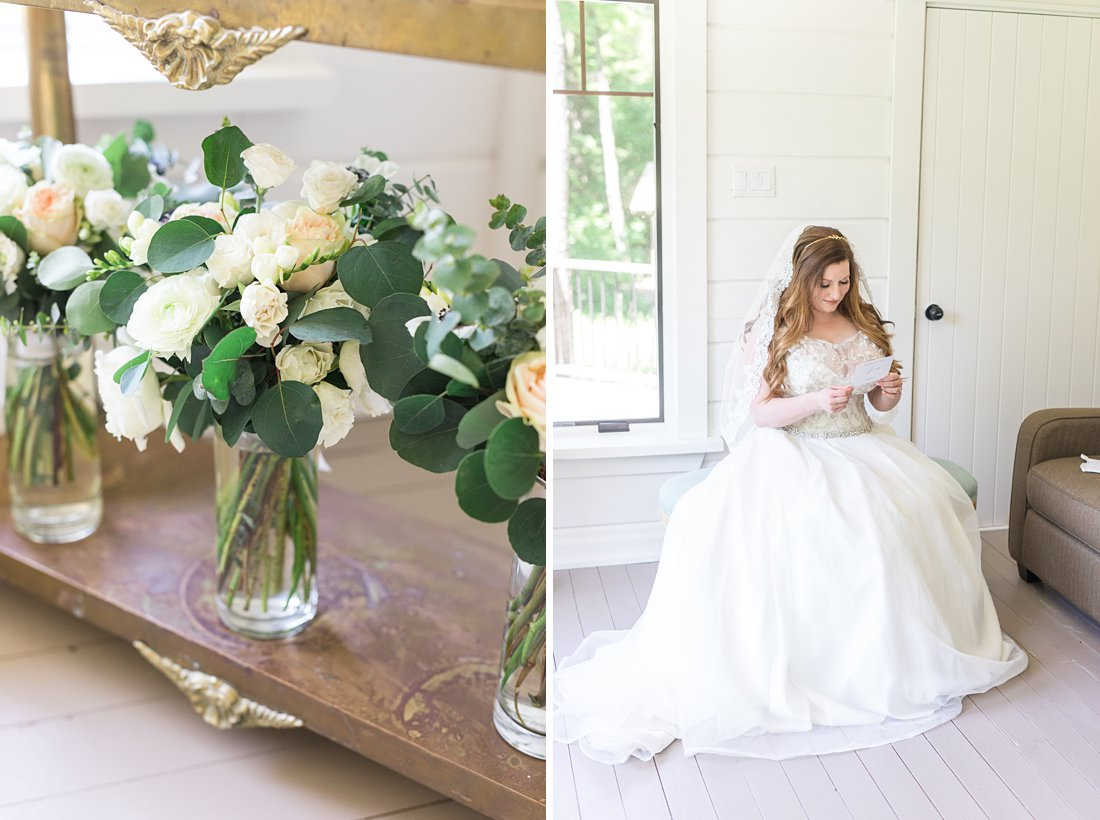 bride reads letter, bridesmaid bouquet, A Sage Green Summer Wedding at Le Belvedere