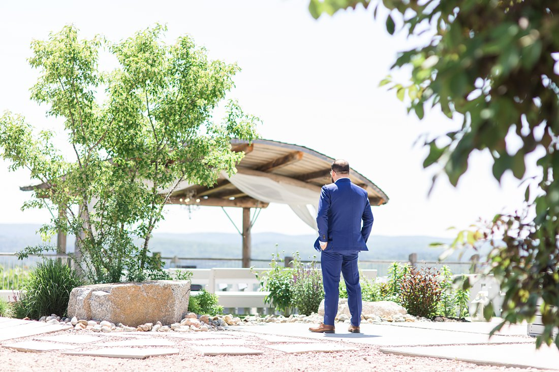 groom waits for first look, A Sage Green Summer Wedding at Le Belvedere