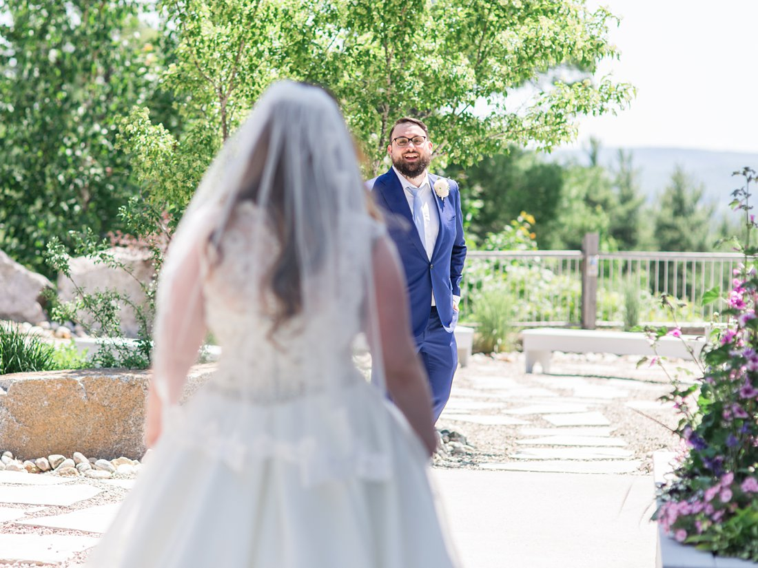 first look reaction, groom surprised, A Sage Green Summer Wedding at Le Belvedere