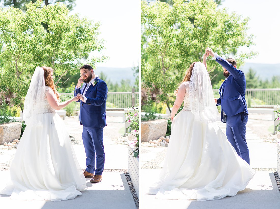 groom crying, first look, twirl, A Sage Green Summer Wedding at Le Belvedere